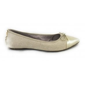 Holly Gold Linen Ballerina Pump