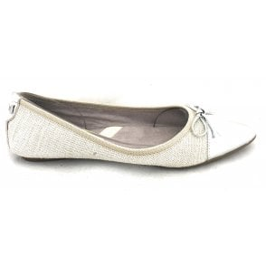 Holly Silver Linen Ballerina Pump
