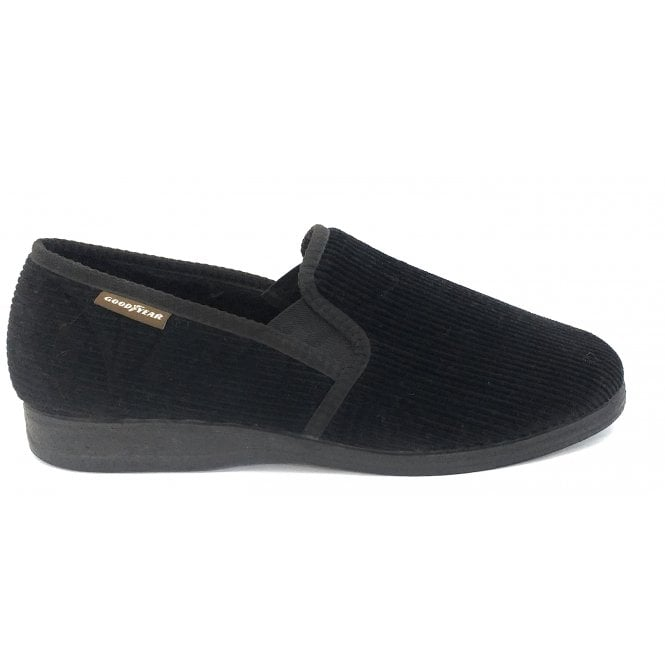 Goodyear Humber Black Corduroy Slippers