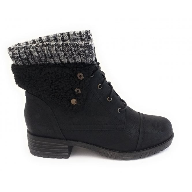 Lotus Indi Black Faux Leather Lace-up Boot
