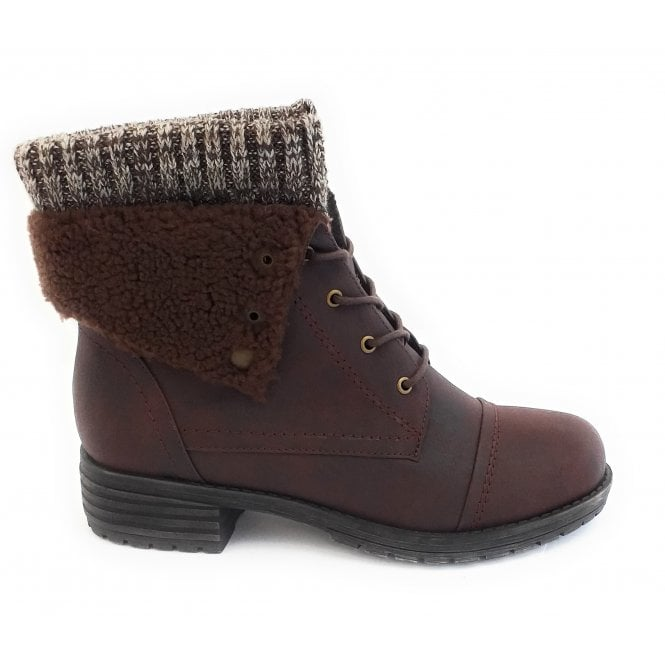 Lotus Indi Brown Faux Leather Lace-up Boot
