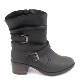 Iowa Black Leather Ankle Boot