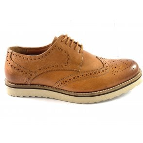 Isacc Tan Leather Lace-Up Casual Brogue