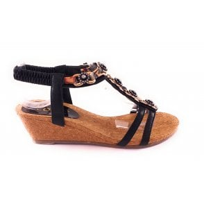 Isla Black Wedge Sandal