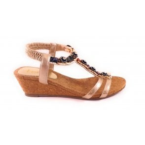 Isla Gold Wedge Sandal