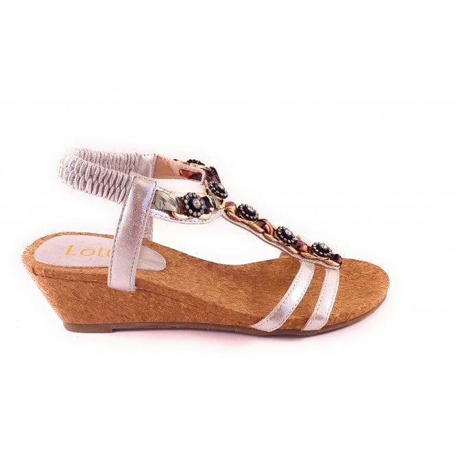 Lotus Isla Silver Wedge Sandal