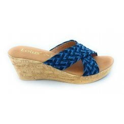 Jacinta Blue Multi Wedge Mule