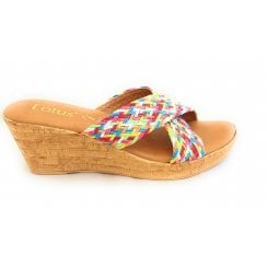 Jacinta Rainbow Multi Wedge Mule