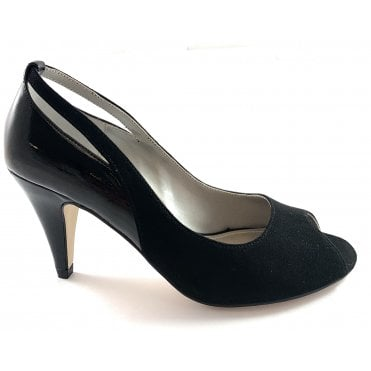 Jada Black Microfibre/Shiny Peep-Toe Court Shoe