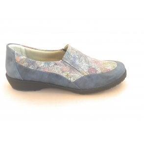 Jan Blue Floral Print Comfort Shoes