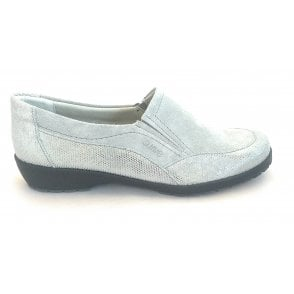 Jan Grey Suede Slip On Casual Shoe