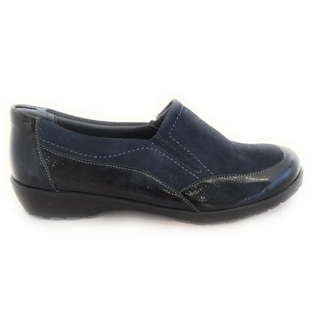 Suave Jan Navy Suede and Patent Comfort Shoes