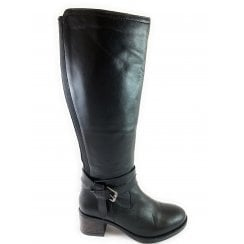 Janessa Black Leather Knee-High Boot