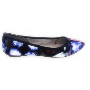 Janey Navy Blurred Floral Ballerina Pump