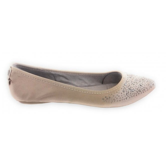 Butterfly Twists Janey Nude Satin Ballerina Pump