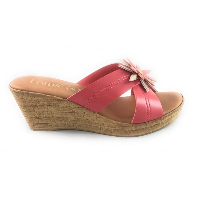 cc490e7665b48 Lotus Japonica Coral And Gold Wedge Mule - Lotus from size4footwear.com UK