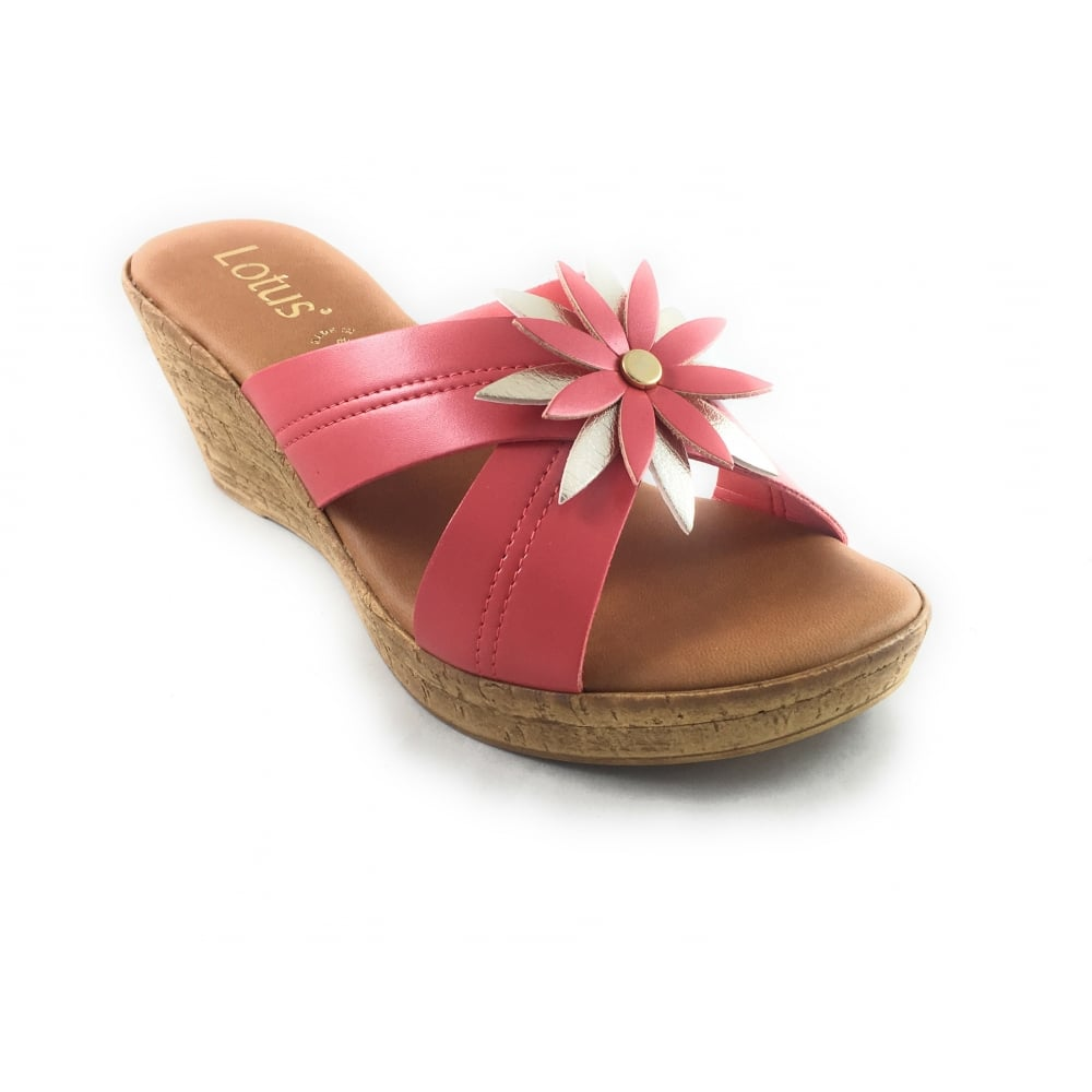 3ee14d5910875 Lotus Japonica Coral And Gold Wedge Mule - Lotus from size4footwear ...