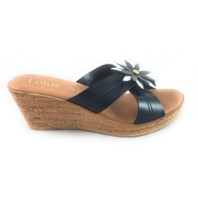 4d9b4524b716f Lotus Japonica Navy And Silver Wedge Mule - Lotus from size4footwear.com UK