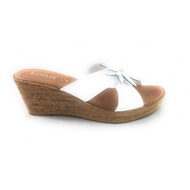 df4a1ebc34f06 Lotus Japonica White And Silver Wedge Mule - Lotus from size4footwear.com UK