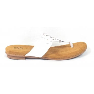 Jasmin 431-A2O80-5000 White Faux Leather Toe-post Sandals