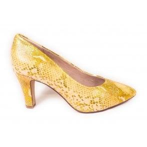 Jemila Evo 411-90171-2800 Yellow Reptile Print Court Shoes