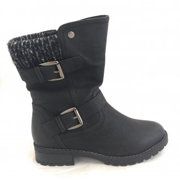 Jemima Black Mid Calf Boot