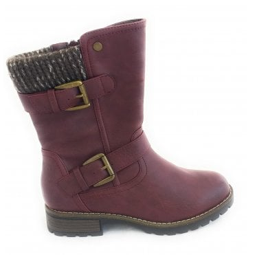 Jemima Burgundy Mid Calf Boot