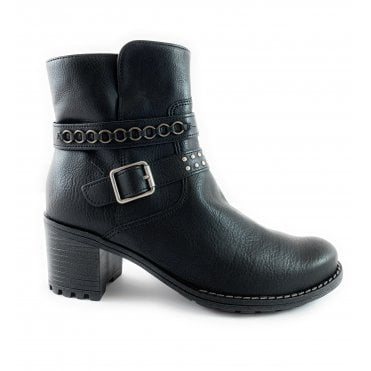 22-67348 Madison Black Faux Leather Ankle Boot