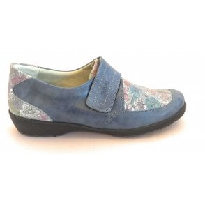 Jenny Blue Floral Leather Casual Shoes