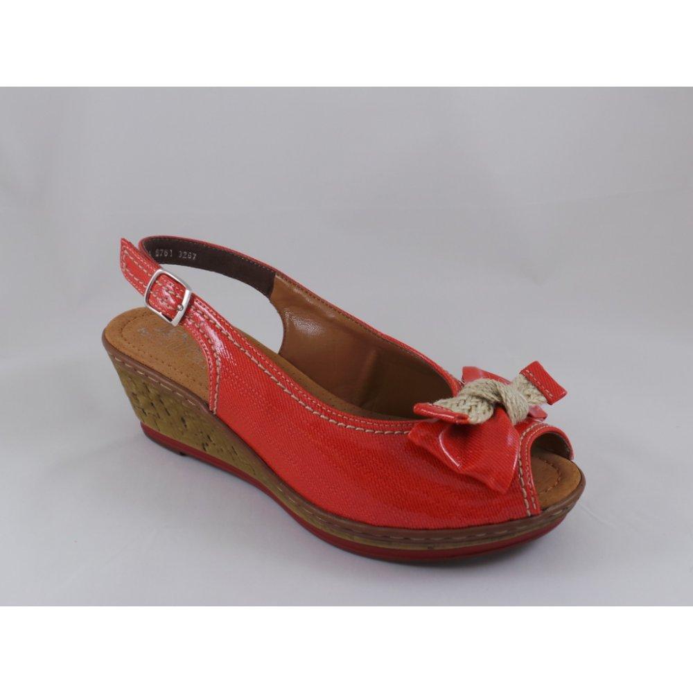 Jenny Rimini 22-56761 Red Peep-Toe Wedge Sandal ...