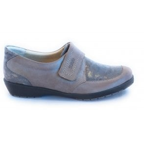 Jenny Taupe and Reptile Print Leather Casual Shoes
