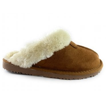 Jill Chestnut Brown Faux Suede Mule Slipper