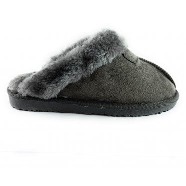 Jill Grey Faux Suede Mule Slipper