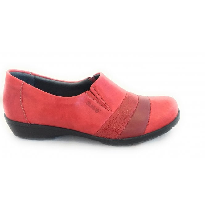 Suave Jill Red Leather Comfort Shoes