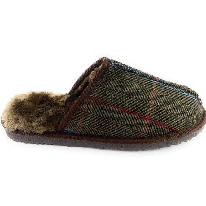 Ella Shoes Jimmy Brown  Tweed Mule Slipper