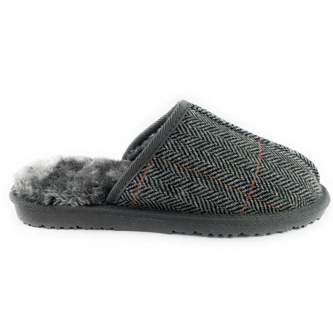Ella Shoes Jimmy Grey  Tweed Mule Slipper