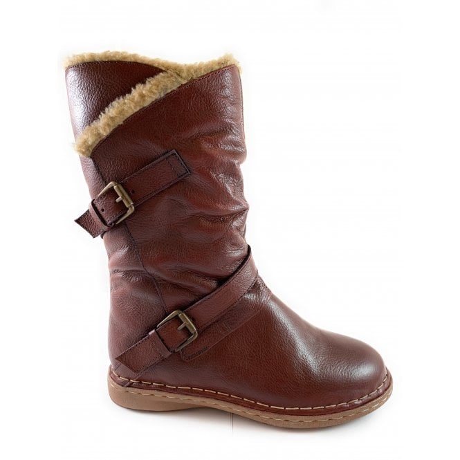 Lotus Jolanda Bordo Leather Mid-Calf Boot