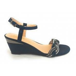 Josephine Navy Diamante Wedge Sandal