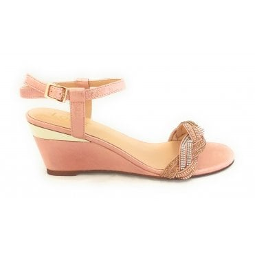 Josephine Pink Diamante Wedge Sandal