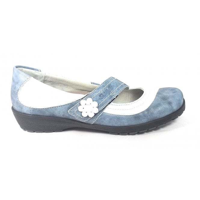 Suave Joy Blue and White Leather Casual Shoe
