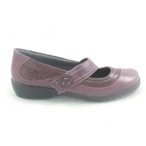 Joy Burgundy Leather Wide Fit Casual Shoe