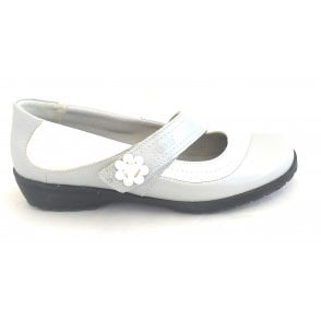 Joy Grey and White Leather Casual Shoe