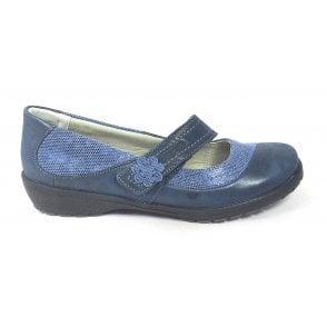 Joy Navy Leather Casual Shoe