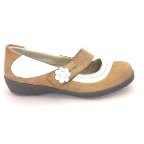 Joy Tan and Cream Leather Casual Shoe