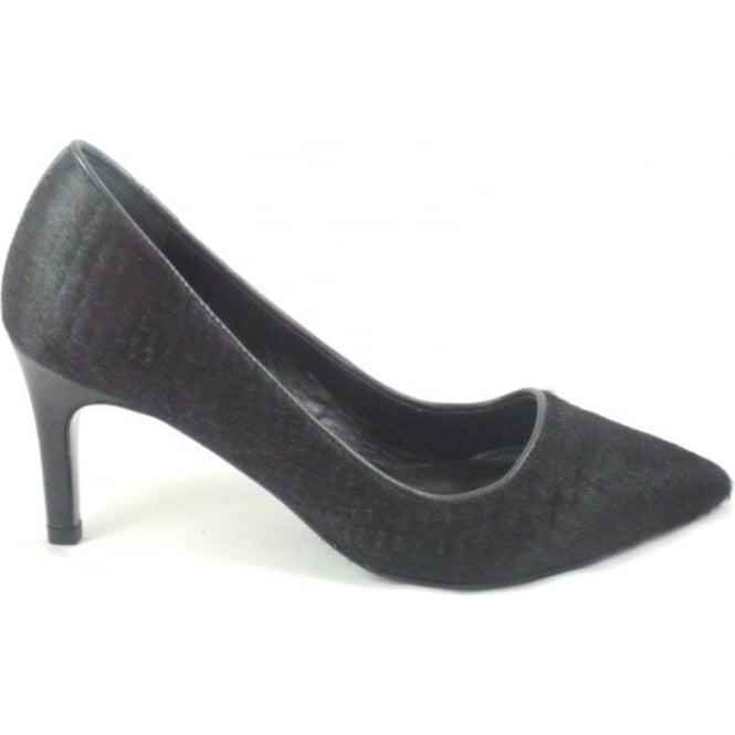 Vanilla Moon Julian Black Ponyskin Leather Court Shoe