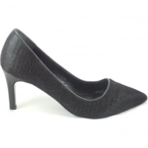 Julian Black Ponyskin Leather Court Shoe