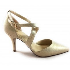 Justine Gold Metallic Court Shoe