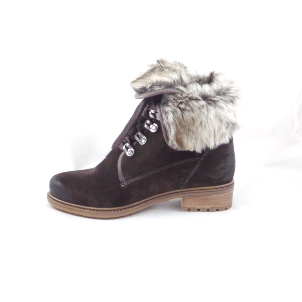 ara kansas st 12 48826 brown suede lace up ankle boot with