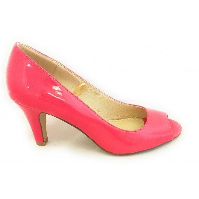 Lotus Katelyn Coral Patent Peep-Toe Court Shoe
