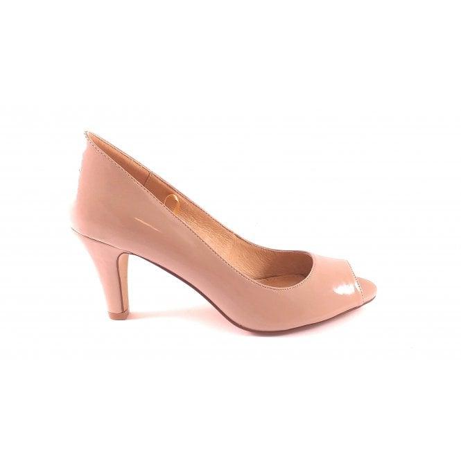 Lotus Katelyn Nude Patent Peep-Toe Court Shoe